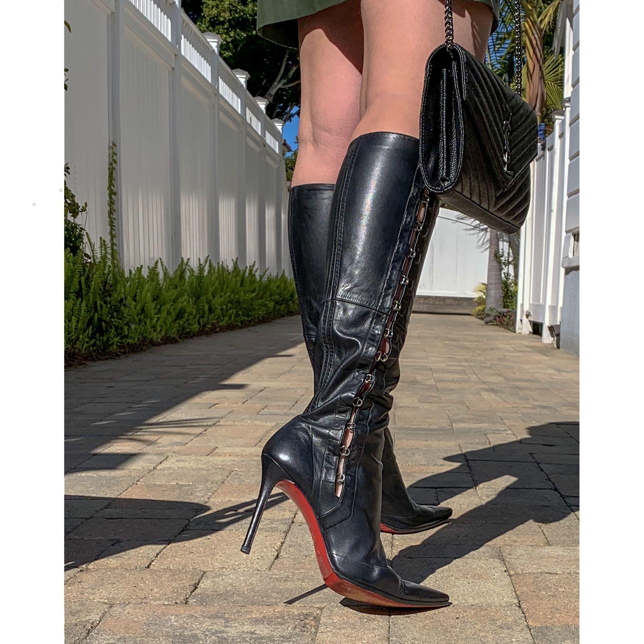 Christian Louboutin 38 5 It 8 5 Us Black Leather Boots Tall Womens Tall Black Leather Boots Black Boots Tall [ 2196 x 2196 Pixel ]