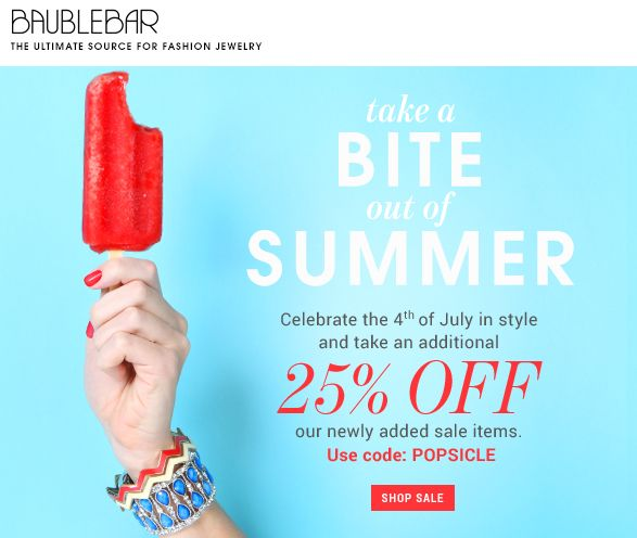 Bauble Bar 4th of July Sale | Email Design (American