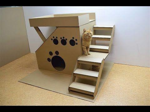 How to make a house for a cat out of cardboard