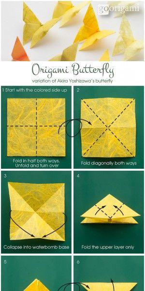 Vlinder vouwen een aantal aan dunne nylondraadjes hangen - Origami para todos ...
