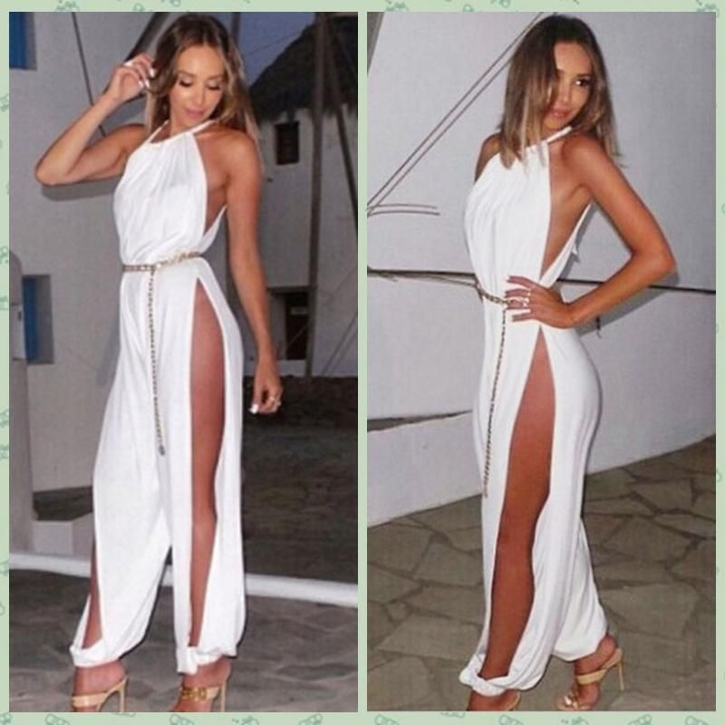 474d561a116d Wholesale cheap brand -free shipping designer white halter open leg  bodysuits women s sexy long harem pants jumpsuit casual vestidos summer  rompers with ...