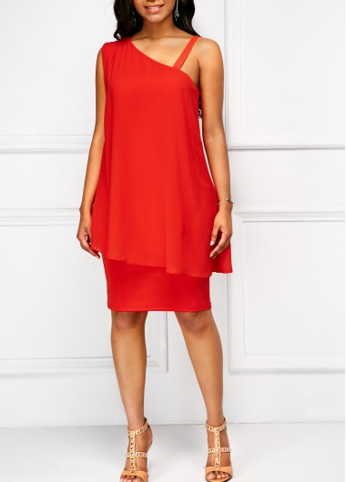 3b655d37a23 Orange Red Spaghetti Strap Chiffon Overlay Dress in 2018