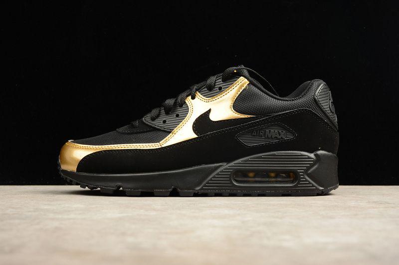 info for 8ba40 a4c21 Nike Air Max 90 Essential Black Black Metalic Gold Mens Running Shoes  537384 058