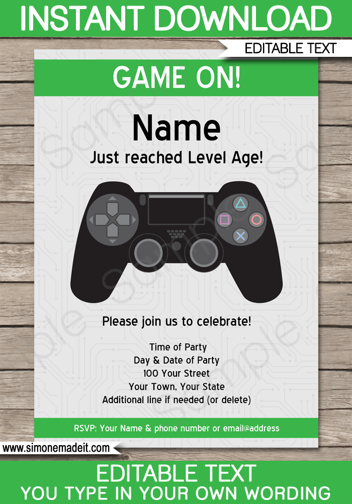 Playstation Party Invitations Template Green Video Game Party Invitation Party Invite Template Playstation Party