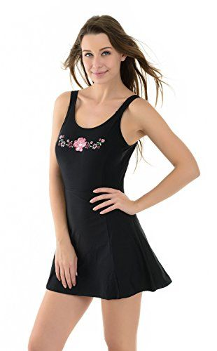 la isla donna costume da bagno stampato con gonna abito a nuotare nero it 40