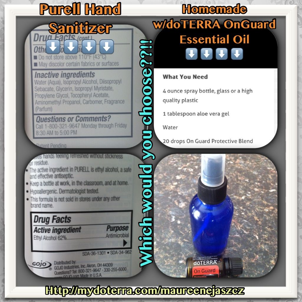 Purell Hand Sanitizer Vs Doterra Onguard Essential Oil Aloe