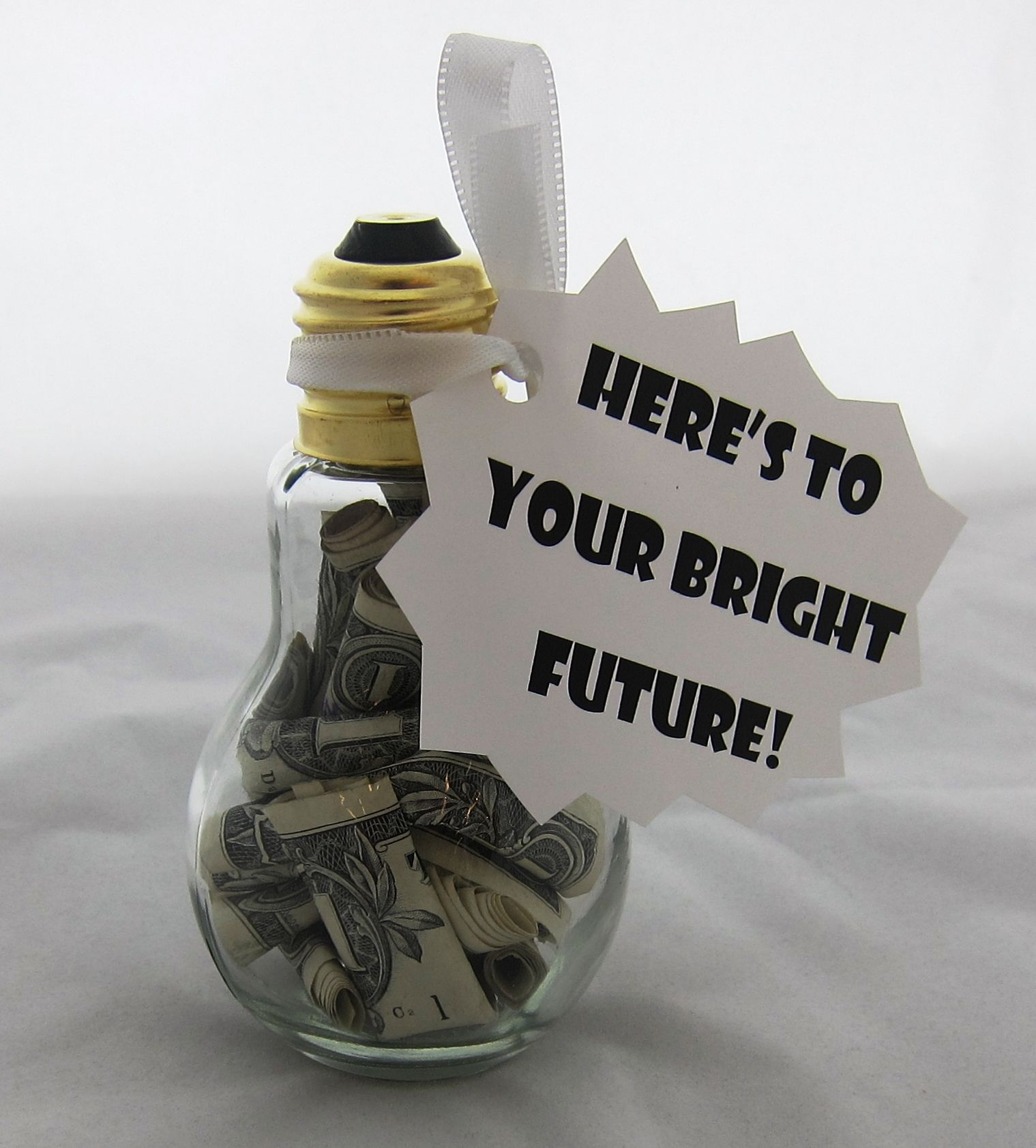 wedding thank you note for gift of money%0A Graduation    Bright Future   theme Light bulb graduate gift Surprise your  college graduate with this bright idea for a gift