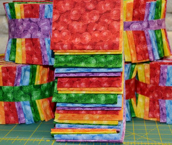 2.5 Rainbow Jelly Roll  24 Strips 6 Different by GarvinQuilts, $9.99