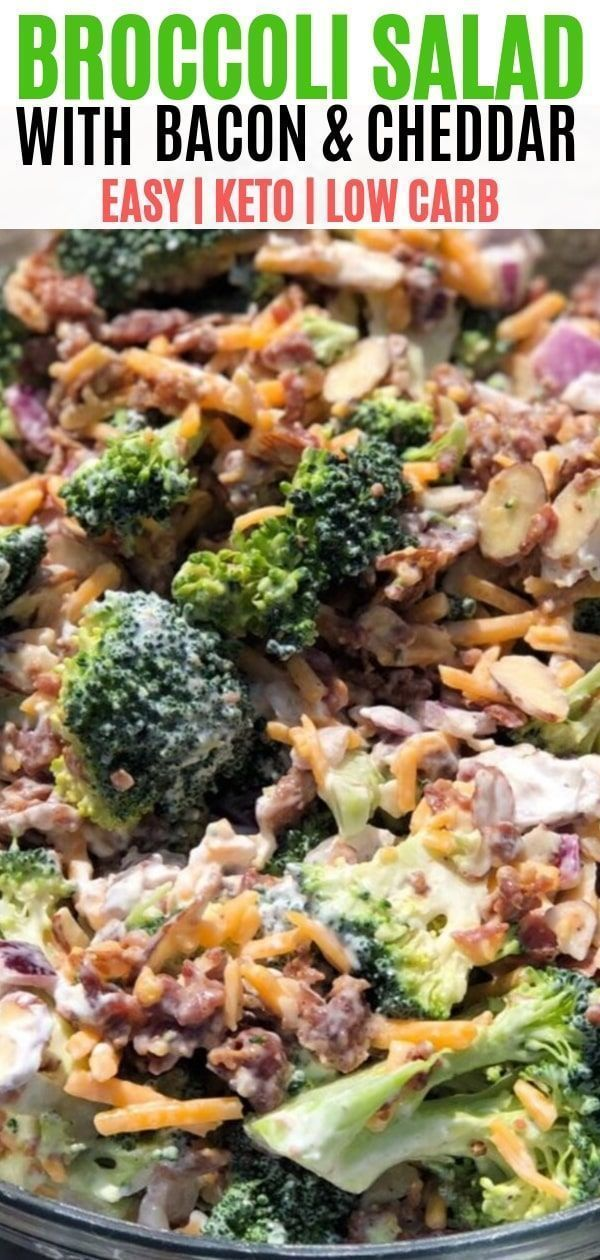 Low carb broccoli salad with bacon. An easy keto side dish that is great for parties and potlucks! The tangy dressing is sweetened with Swerve.  #broccolisalad  #ketoside  #ketosalad #dinnersidedishes