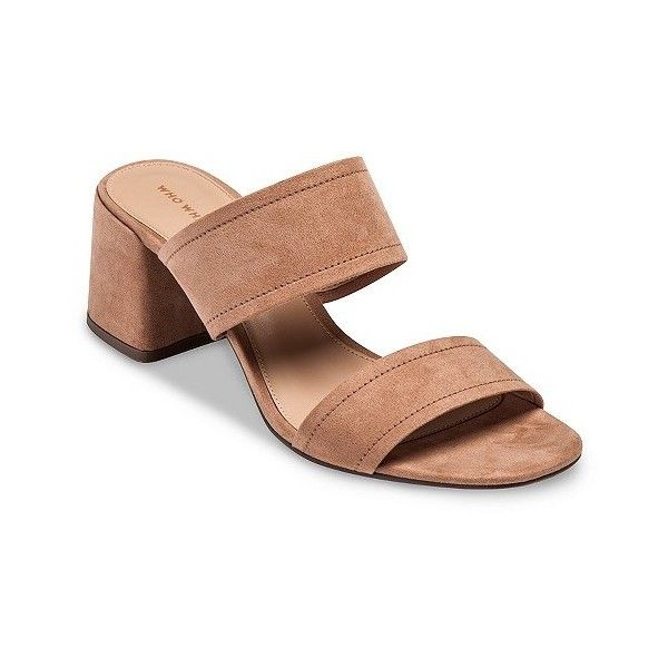 Women S Carolina Double Band Block Heel Slide Sandals Who