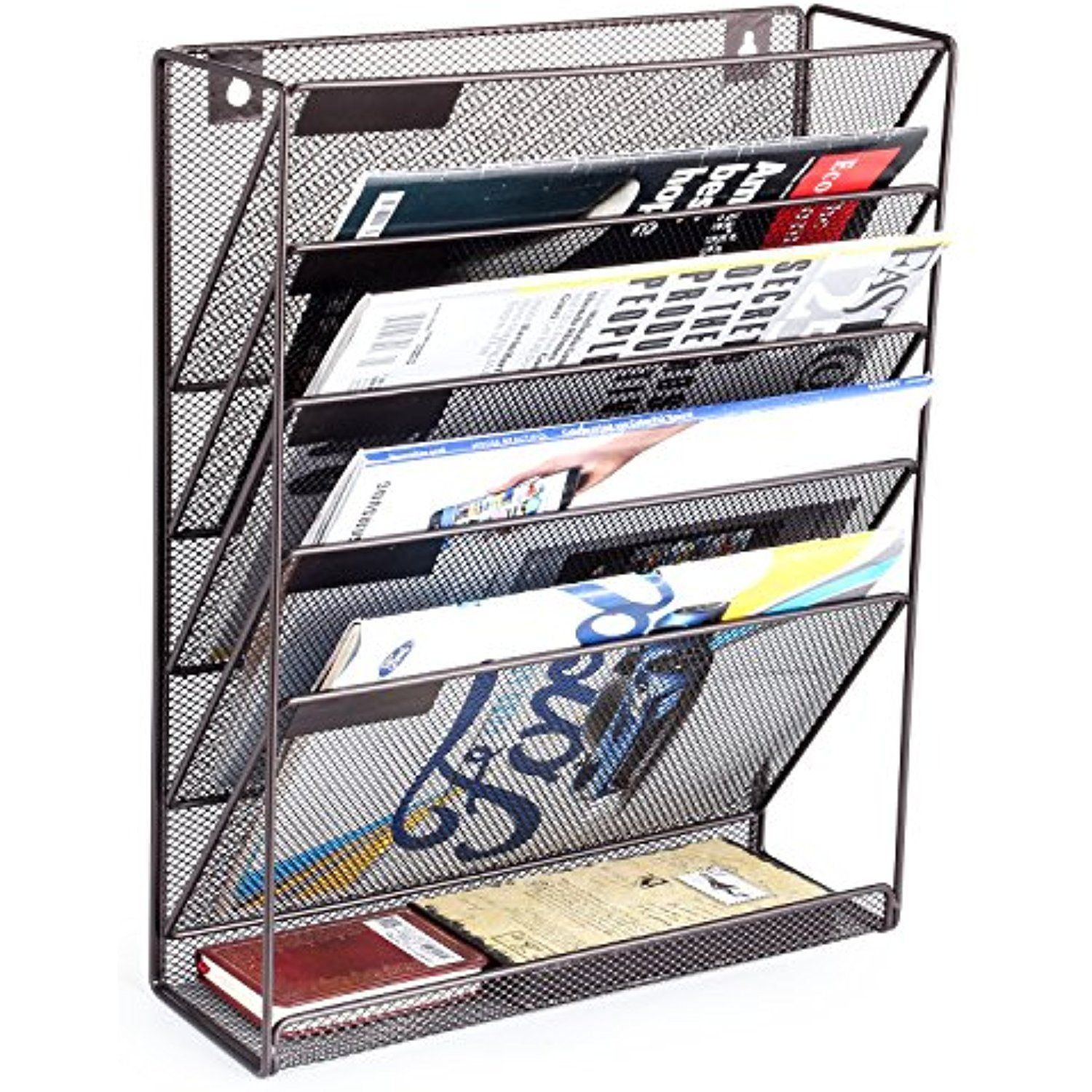 Mesh Metal Door Wall Mounted Paper Document Holder for Office Home 6 Tier,Gold Samstar Wall File Holder Organizer