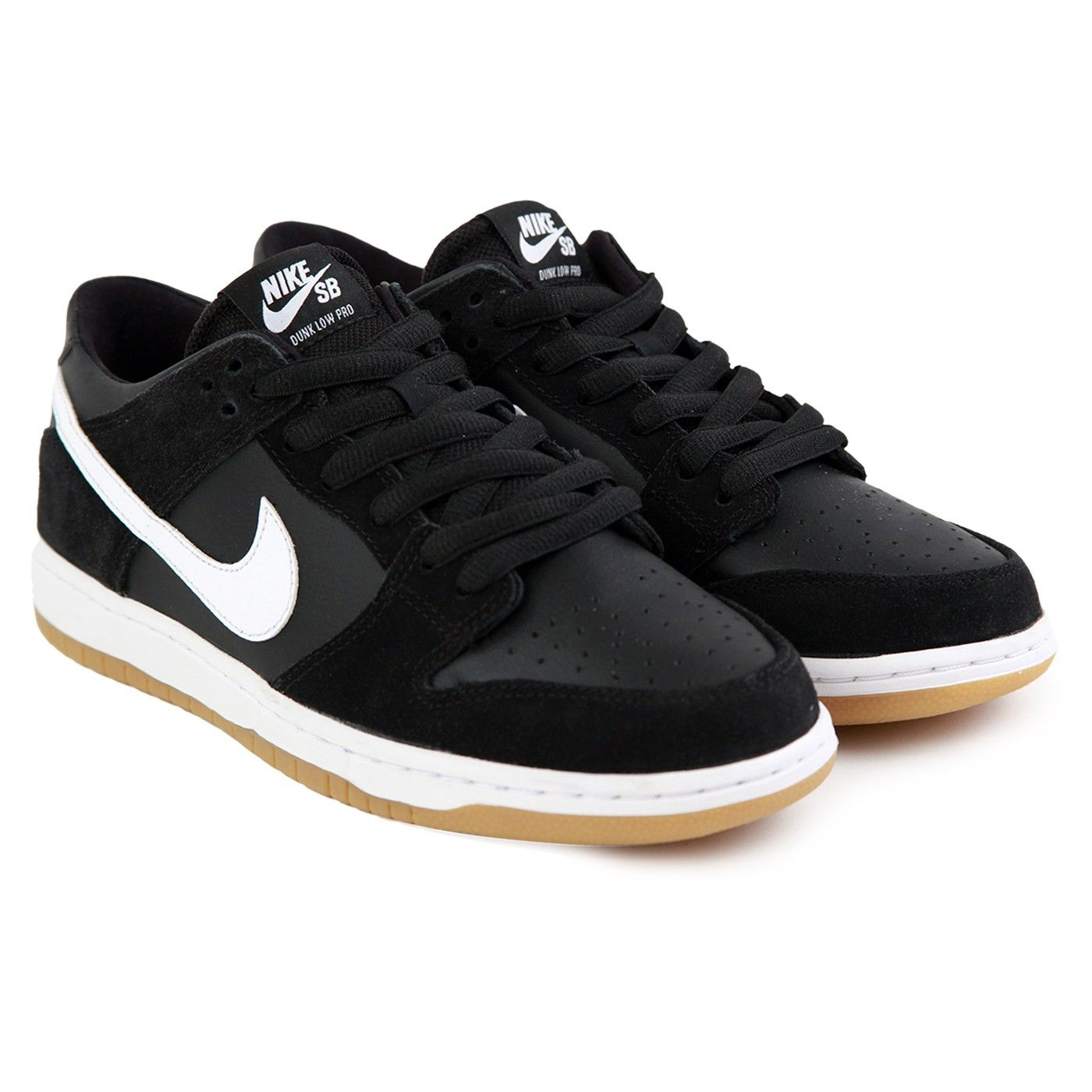 Zoom Dunk Low Pro Shoes in Black / White-Gum Light Brown by Nike SB