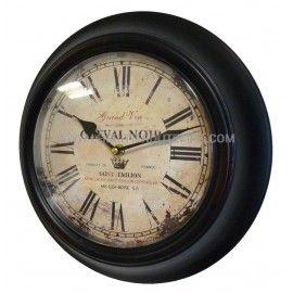 horloge murale en fer avec vitre en plexiglass pendule de cuisine