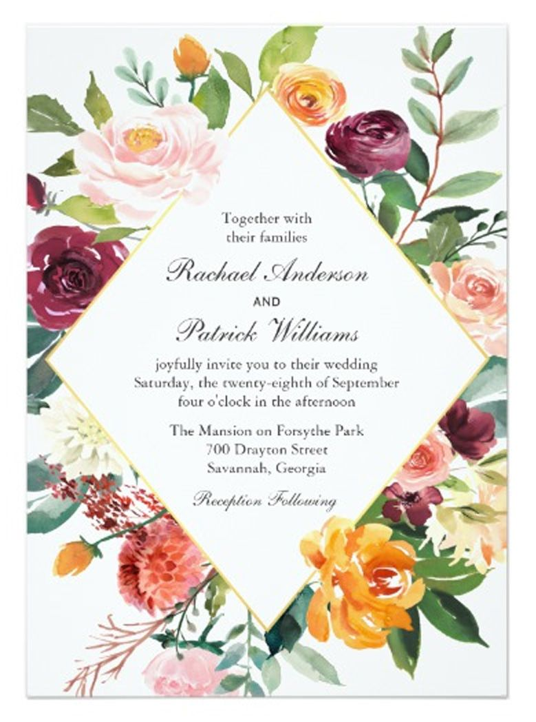 Fall Floral Diamond Frame Wedding Invitation | Pinterest | Wedding ...