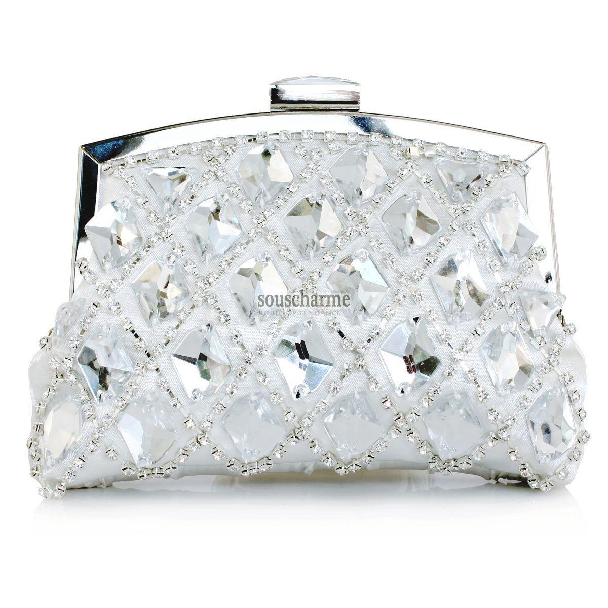 00123d20eb Pochette mariage argent recouverte de gros strass scintillants sac à main  mariée pas cher