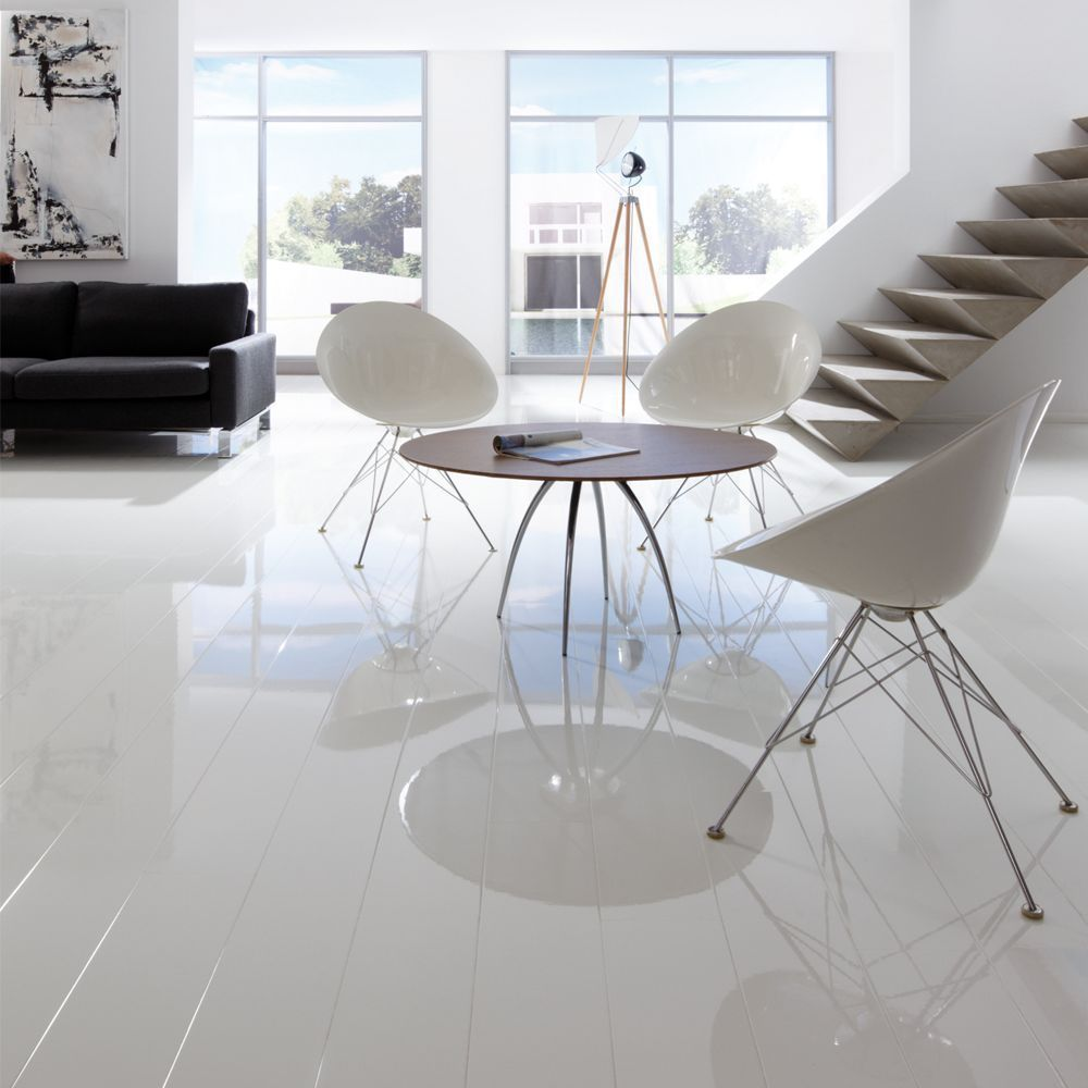 Elesgo high gloss es white laminate flooring white laminate elesgo supergloss extra sensitive arctic white high gloss wood effect laminate flooring is available in beautiful high gloss decors including natural wood dailygadgetfo Gallery