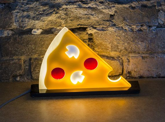 Captivating PEPI Pop Flat Plastic Pizza Night Table Lamp By Riegerdesign