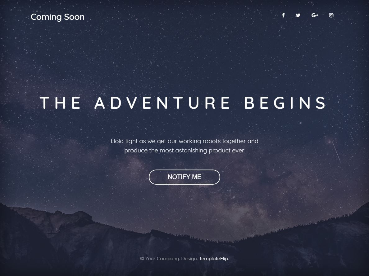 Freebie: Coming Soon Bootstrap 4 Template with Full Width Background ...