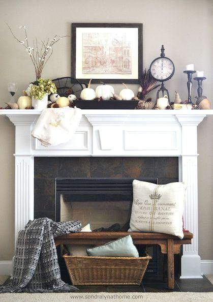 Fireplace Mantel Decor Fall Front Ideas Fireplaces Mantels Home Seasonal Holiday