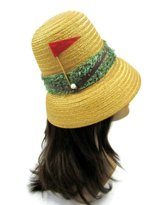 1950s straw golf hat bucket style with by LunchLadyVintage on Etsy e0b8faec90a