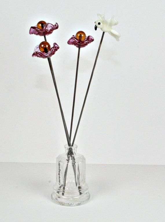 Flowers and bird mini sculpture  Lampwork Sculpture  by IzzyBeads, £10.00