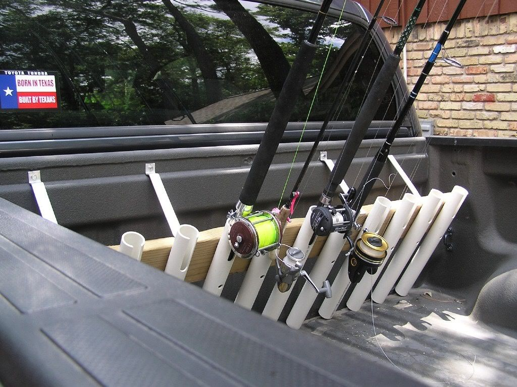 P u truck rod holder the hull truth boating and for Fishing pole rack for truck