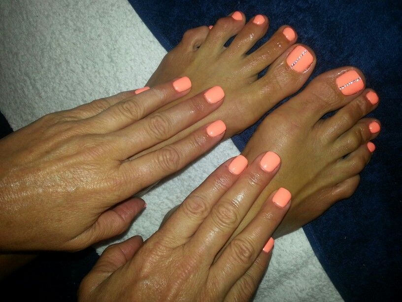 Neon Orange nails toes with bling China glaze | Nails to Love ...