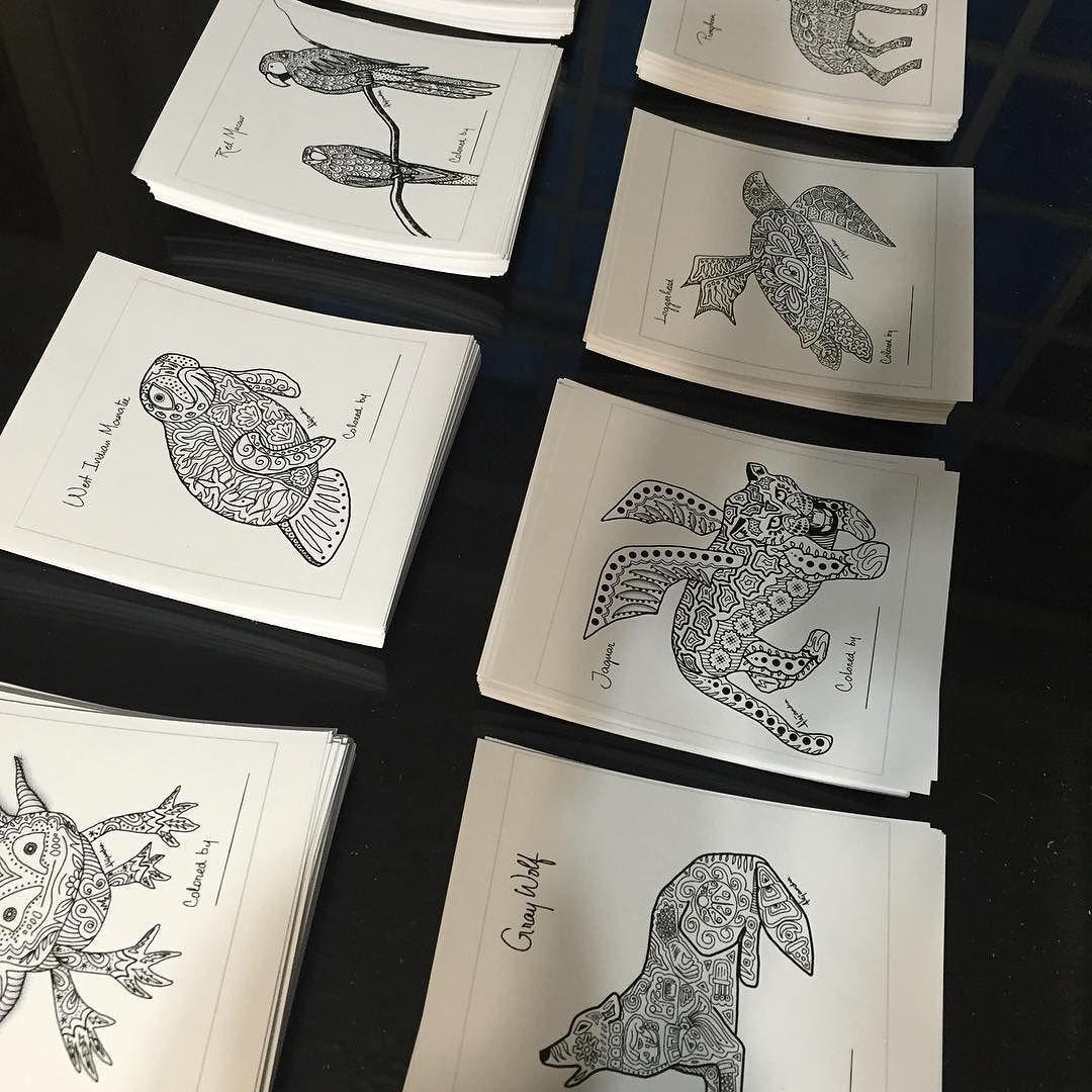Interior de la caja de postales: diez dibujos de animales mexicanos ...