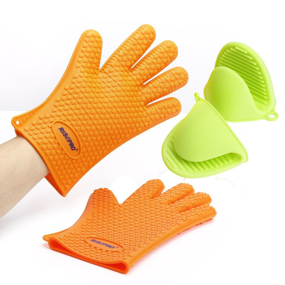 Grace Kitchenware No.1 Silicone BBQ //Cooking Gloves Plus Meat Shredder and Brush