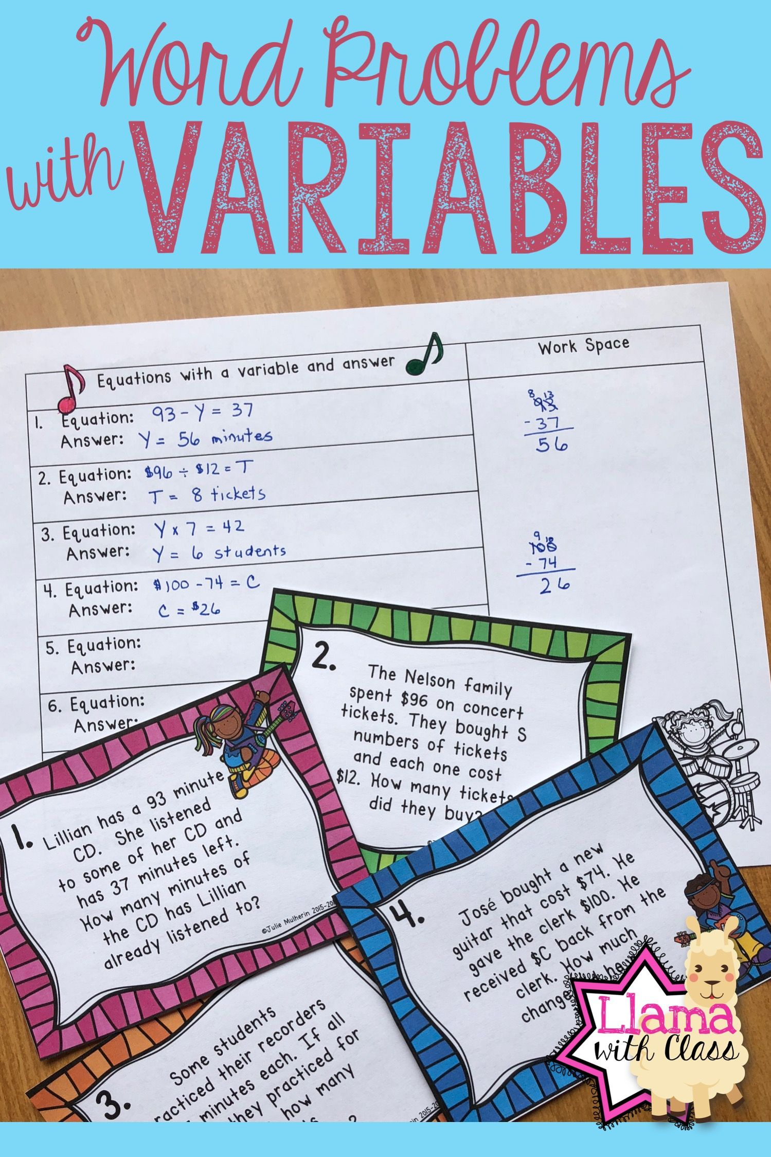 Variables In Word Problems Task Cards