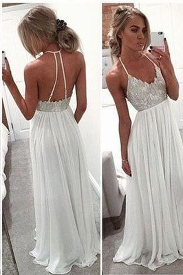 ece132b2db Spaghetti Strap Open Back A-Line Long Chiffon Prom Dresses Evening Dresses  PG388