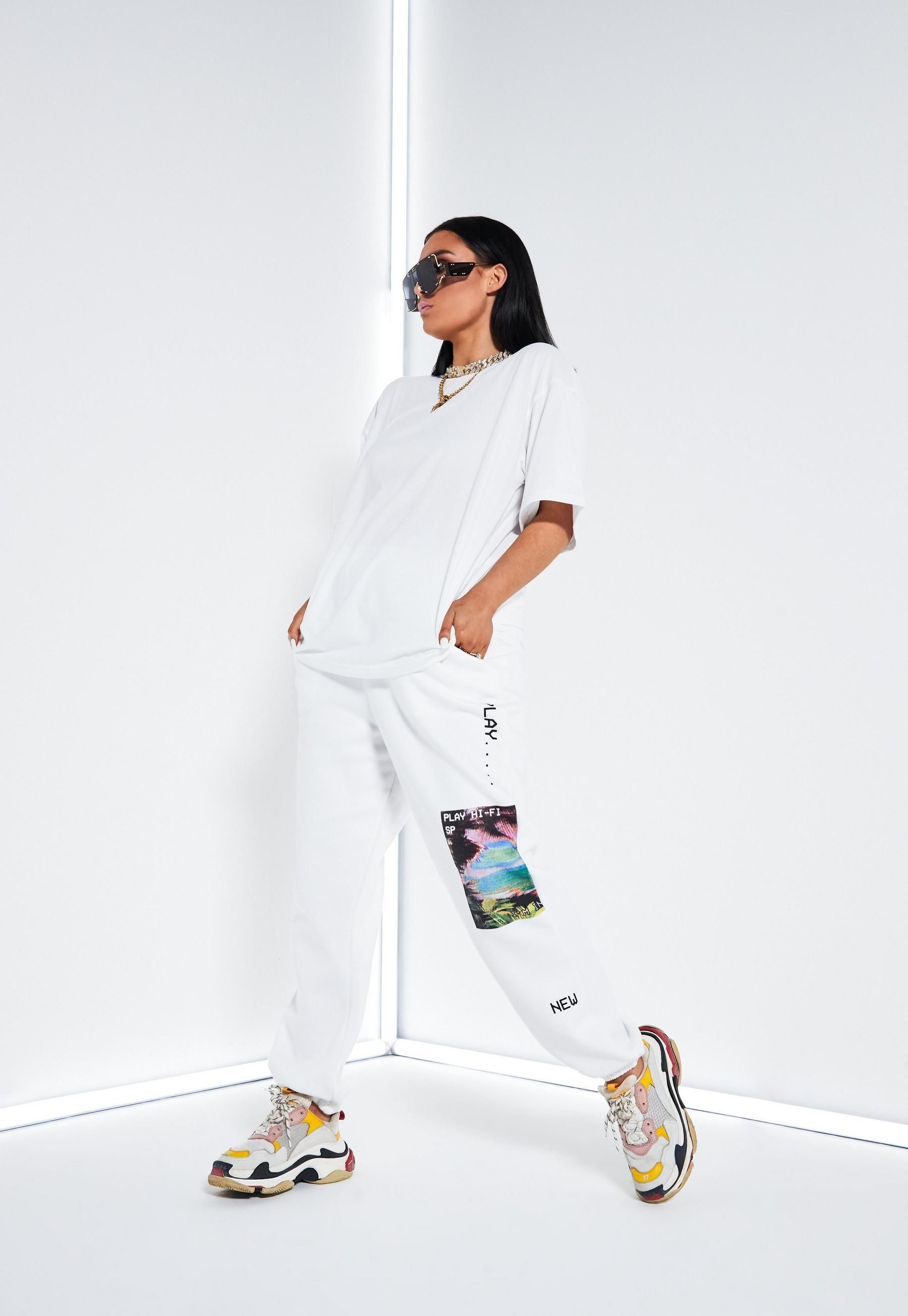 Lissy Roddy x Missguided White Play Print Joggers