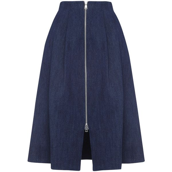 Whistles Zip Through Midi Skirt (€180) ❤ liked on Polyvore featuring skirts, bottoms, dark denim, dark blue denim skirt, calf length skirts, blue midi skirt, pleated skirt and a line midi skirt
