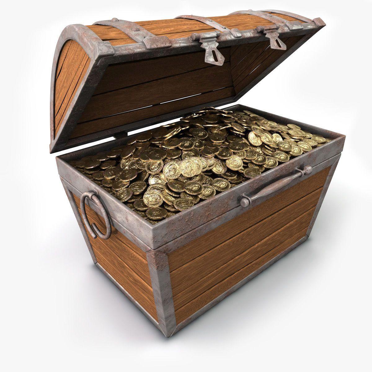 treasure chest with gold 3d model obj 3ds fbx c4d jpg 1200 1200
