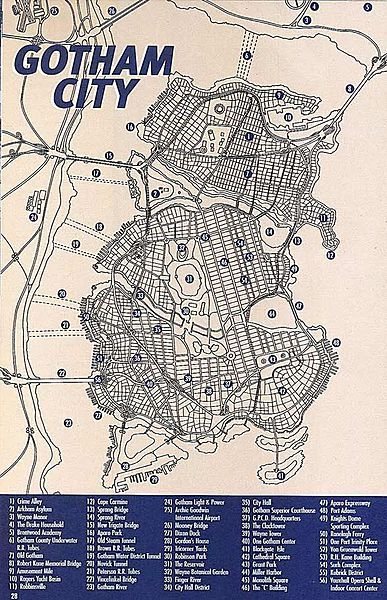 A map of Gotham City in the DC Universe, drawn by Eliot R. Brown ...