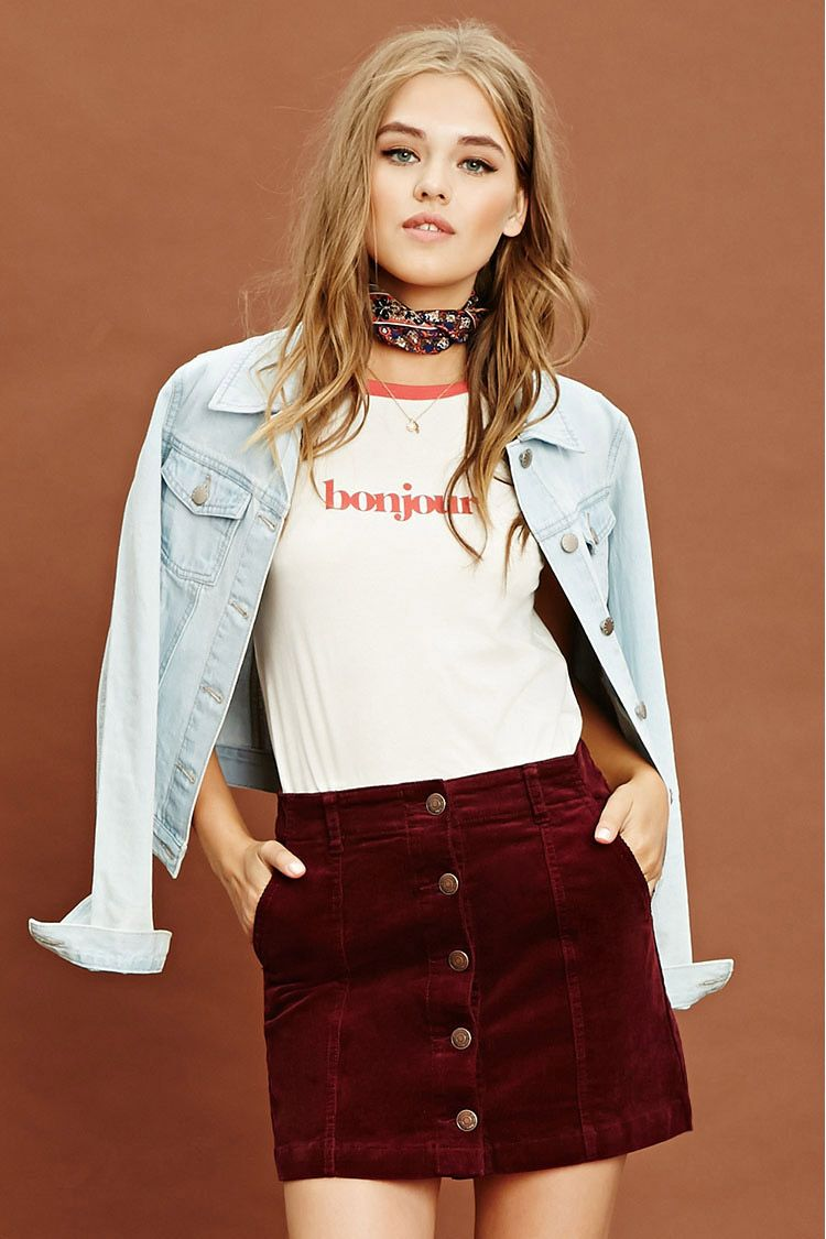 8a815bf7eee5 Burgundy Cord Mini Skirt - raveitsafe