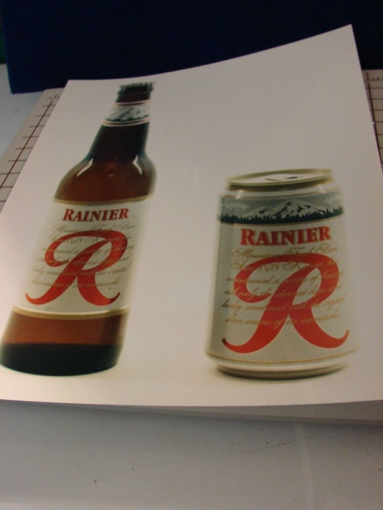 Rainier Beer PHOTO of RAINIER  Bottle & Can ONLY ~ No Written Copy, Background