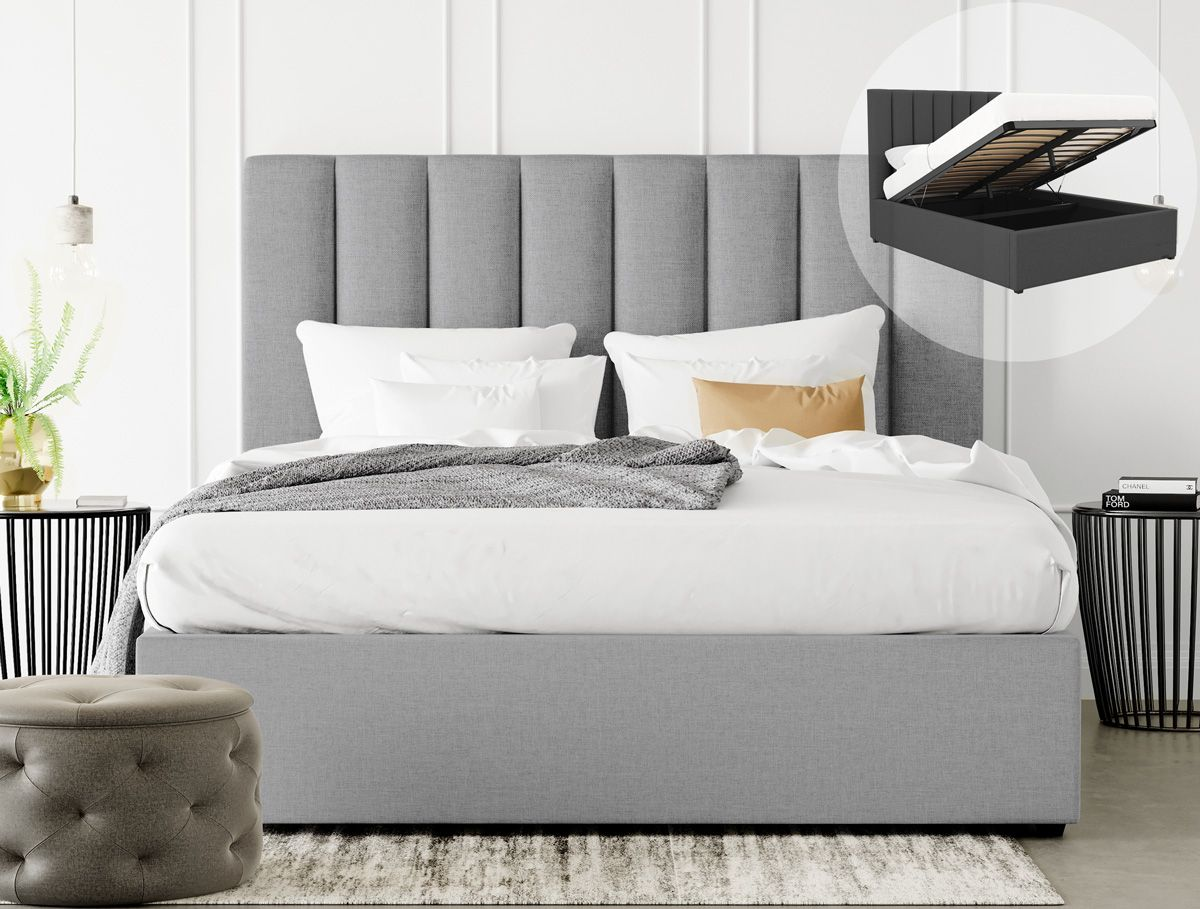 King Size Gas Lift Fabric Bed Frame Celine Collection Grey