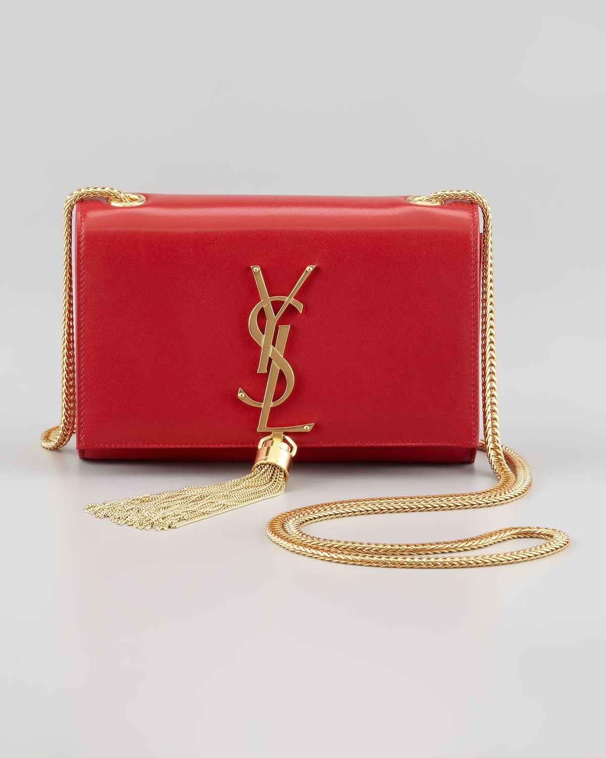 c2e43d5654 Saint Laurent Cassandre Small Tassel Crossbody Bag, Red - Neiman Marcus