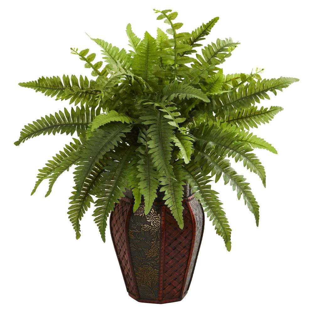 Nearly Natural Indoor Boston Fern Artificial Plant In Decorative Planter Decorative Planters Artificial Plants Boston Ferns