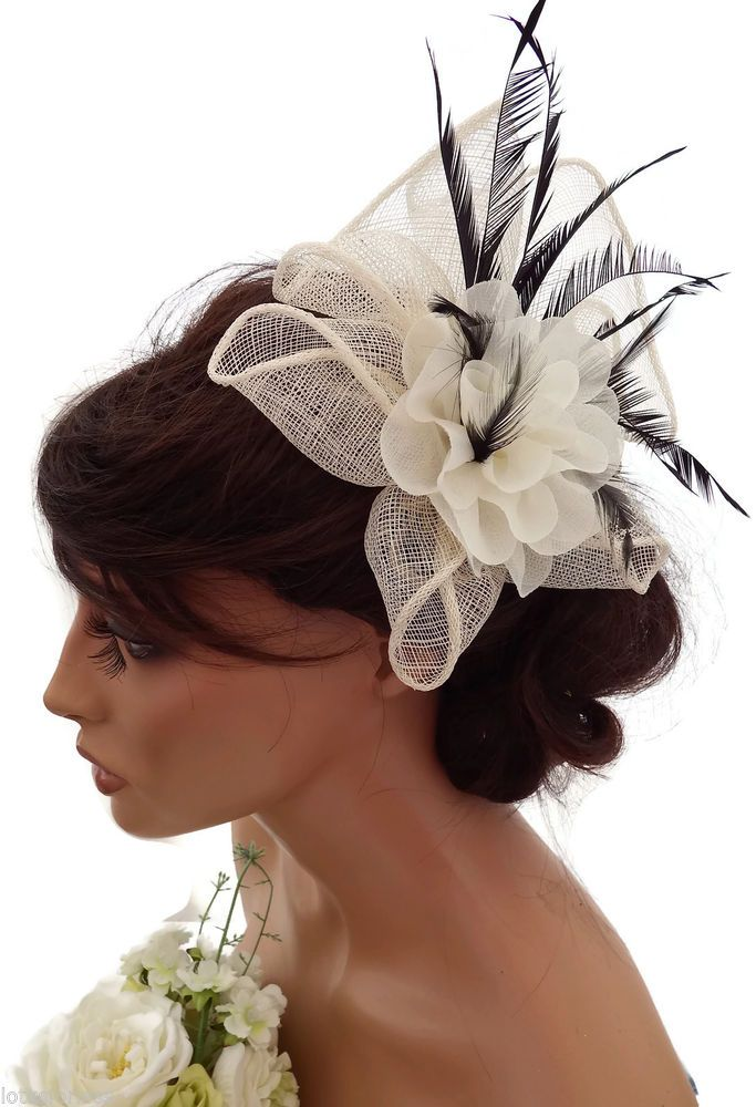 Stunning Cream And Black Mesh Ruffle Flower Hair Grip Fascinator Races