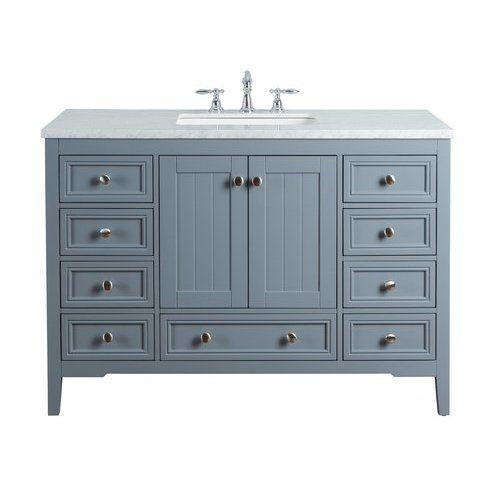 Stufurhome 48 Inch New Yorker Single Sink Vanity Marble Carrara