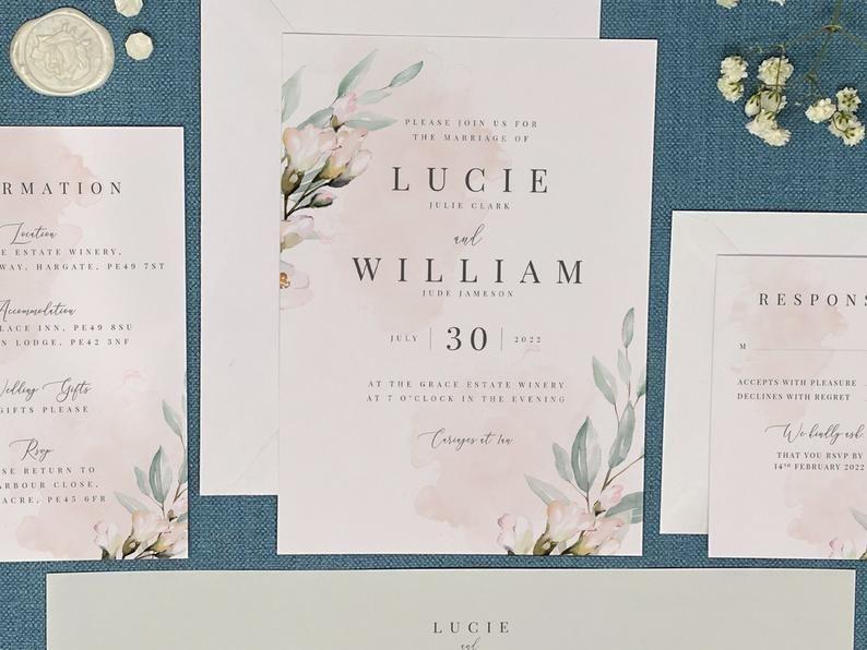 Printed Wedding Invitation Package Suite Personalised Blush Etsy In 2020 Wedding Invitation Packages Wedding Invitation Card Design Printing Wedding Invitations