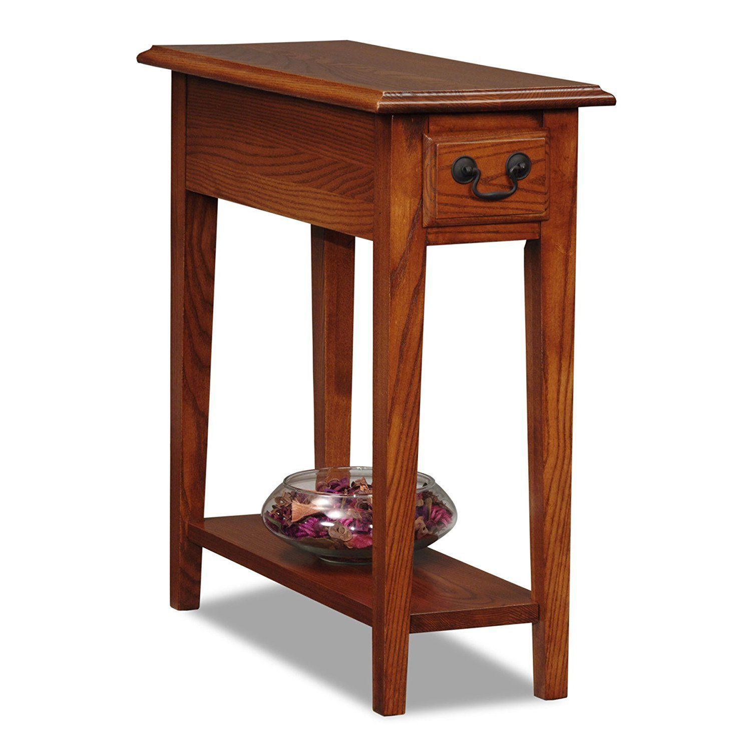 Leick Chair Side End Table With Drawer In Medium Oak