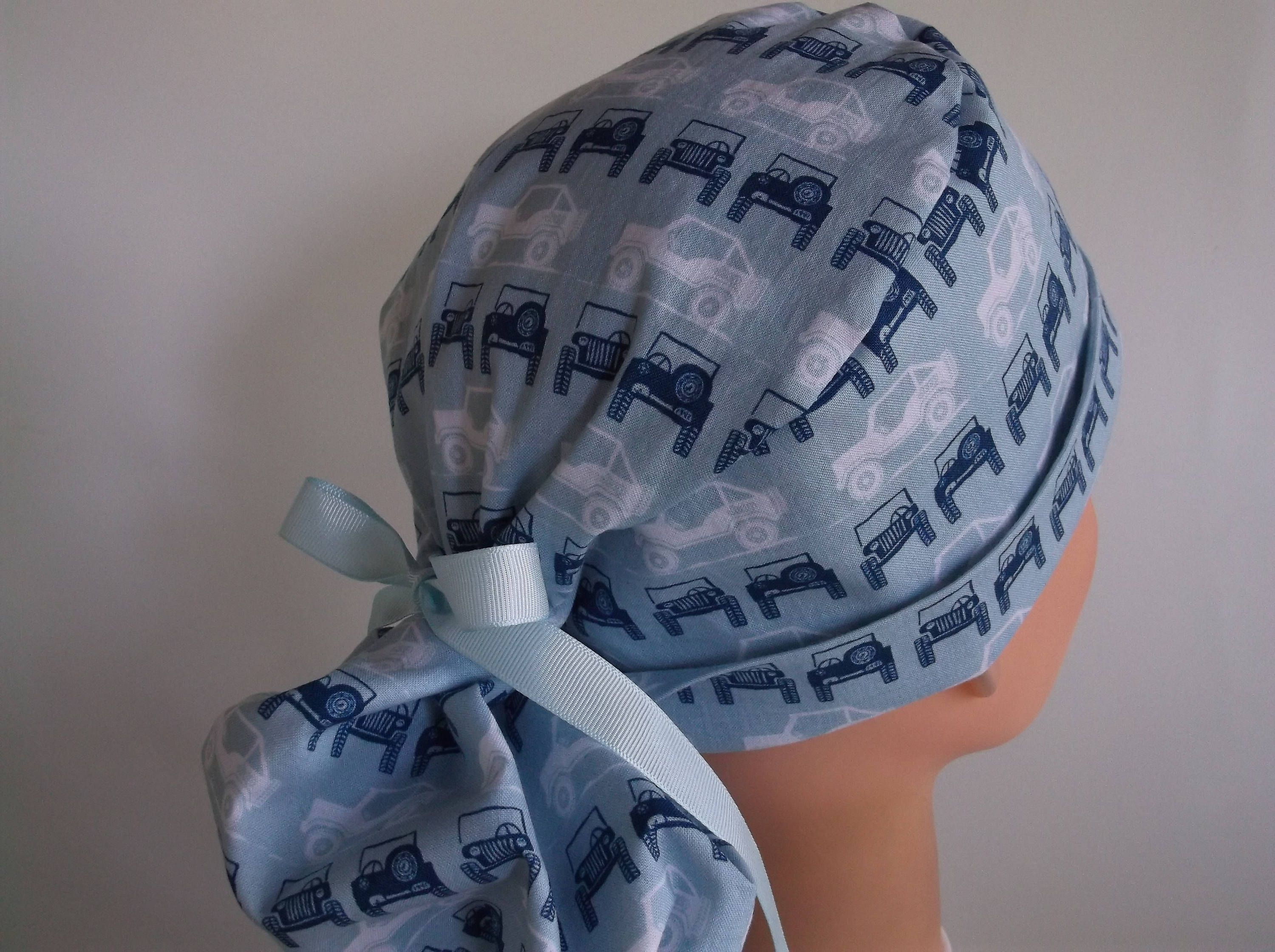 J is for Jeep Ponytail - Womens lined surgical scrub cap 353e411a2fa6