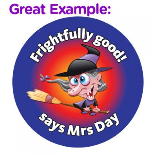 Customise this fun halloween witch sticker with your personal message fantastic for teachers as a personalised quick reward in the classroom