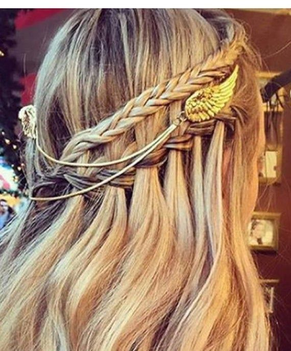 Big Angel Wings Hair Chain, Bridal Hair Accessory, Gold Hair Chain, Wedding Hair Jewellery, Fairy Ha #hairchains