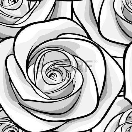 Rosa Stilizzata Bella Bianco E Nero Sfondo Bianco E Nero Senza