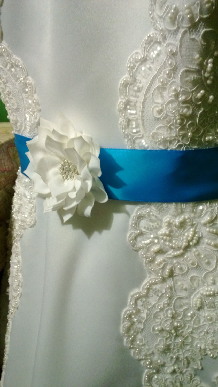 Malibu blue satin ribbon wedding sash with rhinestone embellishment