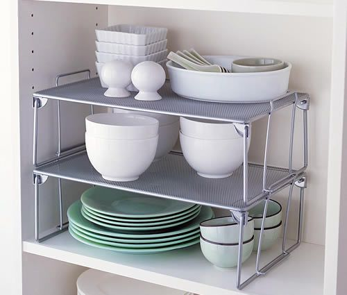 Kitchen Pantry Cabinet Organization Ideas Plate Rack Shelf: Stacking Plate Rack